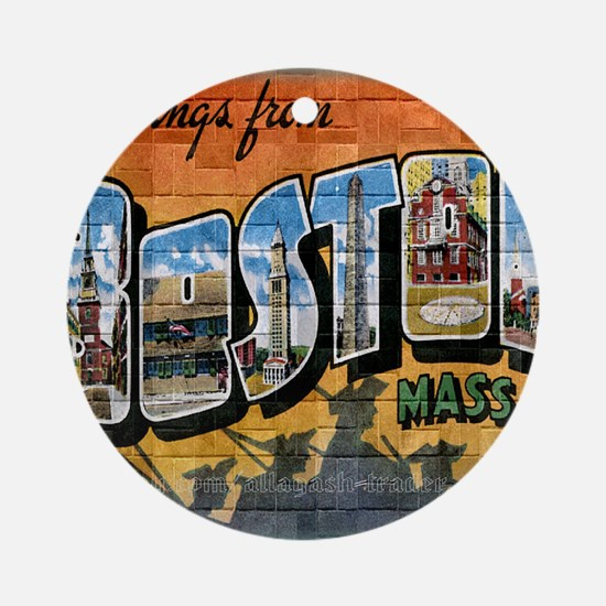 Greetings from Boston Round Ornament