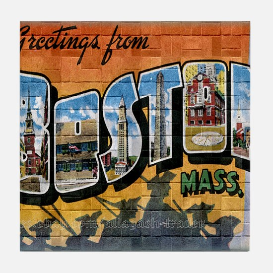 Greetings from Boston Tile Coaster