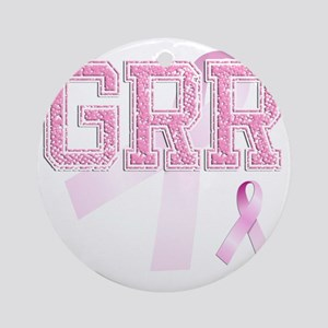 GRR initials, Pink Ribbon, Round Ornament
