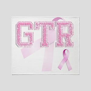 GTR initials, Pink Ribbon, Throw Blanket
