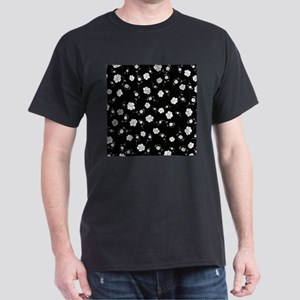 White Flowers on Black T-Shirt