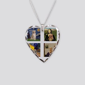 T-FamousArt-w-4-Goldens-clear Necklace Heart Charm