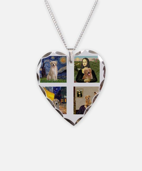 T-FamousArt-w-4-Goldens-clear Necklace