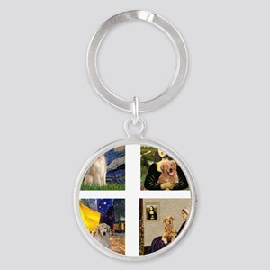 T-FamousArt-w-4-Goldens-clear Round Keychain