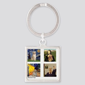 T-FamousArt-w-4-Goldens-clear Square Keychain