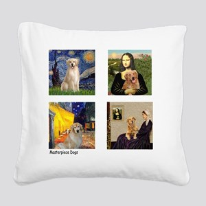 T-FamousArt-w-4-Goldens-clear Square Canvas Pillow