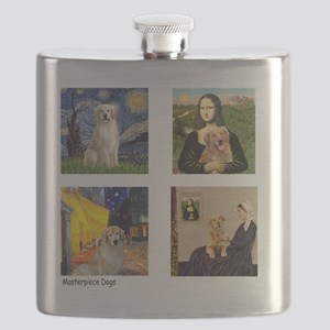 T-FamousArt-w-4-Goldens-clear Flask