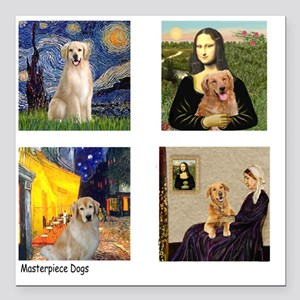 "T-FamousArt-w-4-Goldens- Square Car Magnet 3"" x 3"""