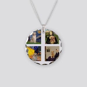 T-FamousArt-w-4-Goldens-clea Necklace Circle Charm