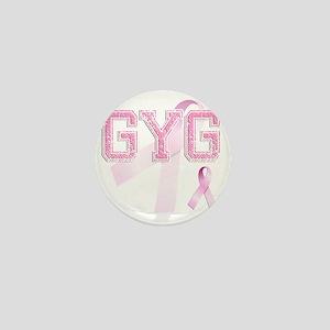 GYG initials, Pink Ribbon, Mini Button