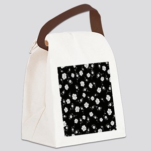 White Flowers on Black Canvas Lunch Bag