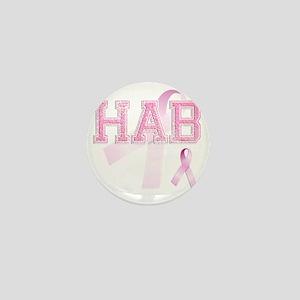 HAB initials, Pink Ribbon, Mini Button