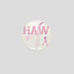 HAW initials, Pink Ribbon, Mini Button