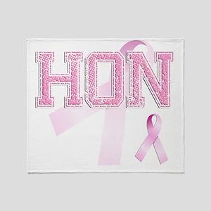 HON initials, Pink Ribbon, Throw Blanket