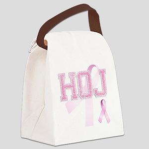 HOJ initials, Pink Ribbon, Canvas Lunch Bag