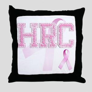 HRC initials, Pink Ribbon, Throw Pillow