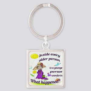 Inside older person Square Keychain
