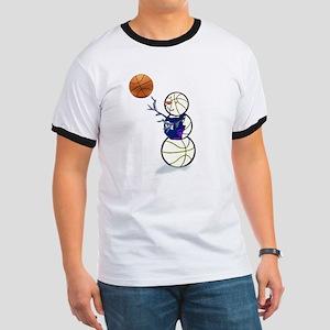 Basketball Snowman Ringer T