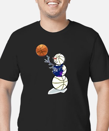 Basketball Snowman Men's Fitted T-Shirt (dark)