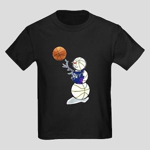 Basketball Snowman Kids Dark T-Shirt