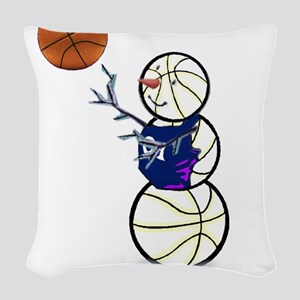 Basketball Snowman Woven Throw Pillow