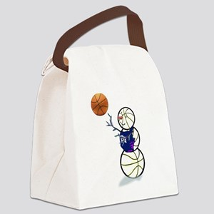 Basketball Snowman Canvas Lunch Bag
