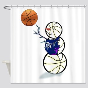 Basketball Snowman Shower Curtain