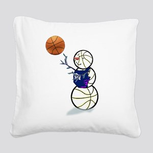 Basketball Snowman Square Canvas Pillow