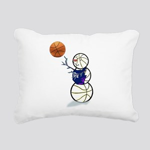 Basketball Snowman Rectangular Canvas Pillow