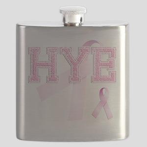 HYE initials, Pink Ribbon, Flask