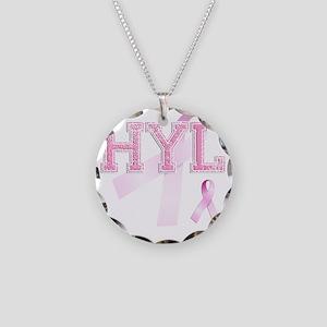 HYL initials, Pink Ribbon, Necklace Circle Charm