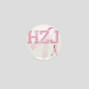 HZJ initials, Pink Ribbon, Mini Button