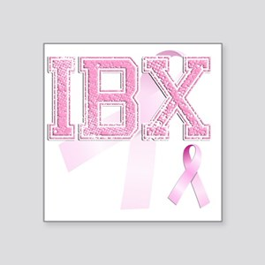 "IBX initials, Pink Ribbon, Square Sticker 3"" x 3"""