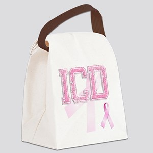 ICD initials, Pink Ribbon, Canvas Lunch Bag