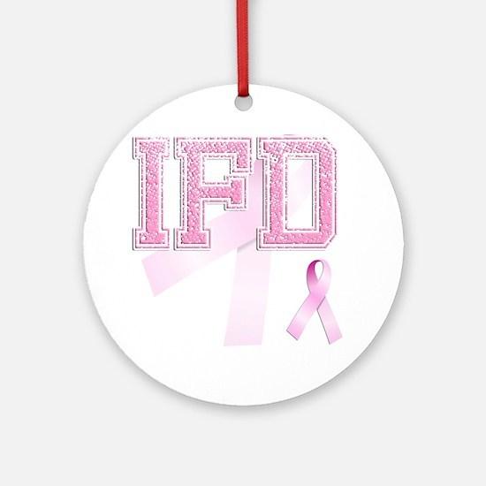 IFD initials, Pink Ribbon, Round Ornament