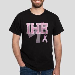 IHE initials, Pink Ribbon, Dark T-Shirt