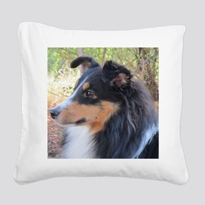 Tri-color Sheltie head study Square Canvas Pillow