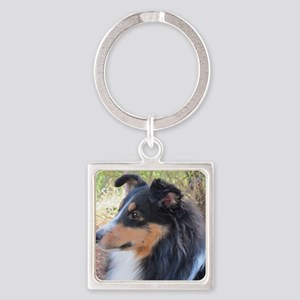 Tri-color Sheltie head study Square Keychain