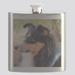 Tri-color Sheltie head study Flask