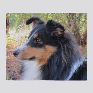 Tri-color Sheltie head study Throw Blanket