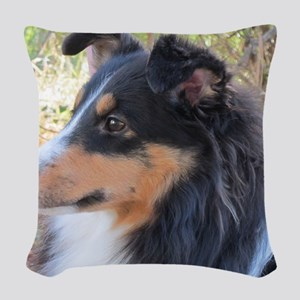 Tri-color Sheltie head study Woven Throw Pillow