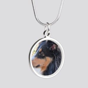 Tri-color Sheltie head study Silver Round Necklace