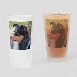 Tri-color Sheltie head study Drinking Glass