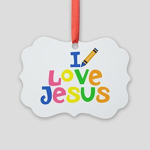 I Love Jesus - Kids Handwriting - Picture Ornament