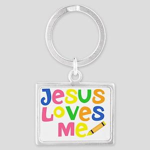 Jesus Loves Me - Kids Handwriti Landscape Keychain