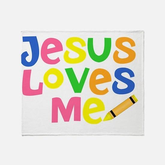 Jesus Loves Me - Kids Handwriting -  Throw Blanket