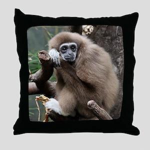White Handed Gibbon Throw Pillow