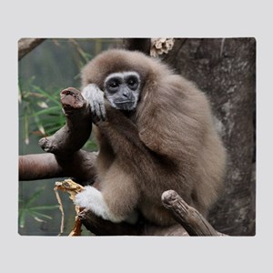 White Handed Gibbon Throw Blanket