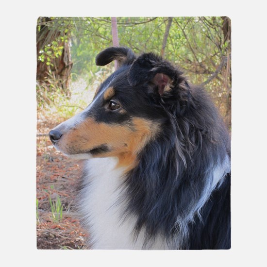 Tri-Color Sheltie Head Throw Blanket