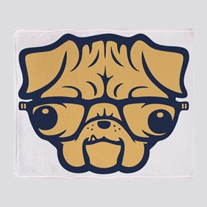 pug-glasses-T Throw Blanket